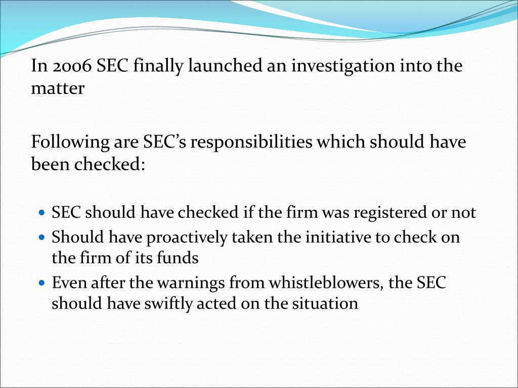 In 2006 SEC finally launched an investigation into the matter