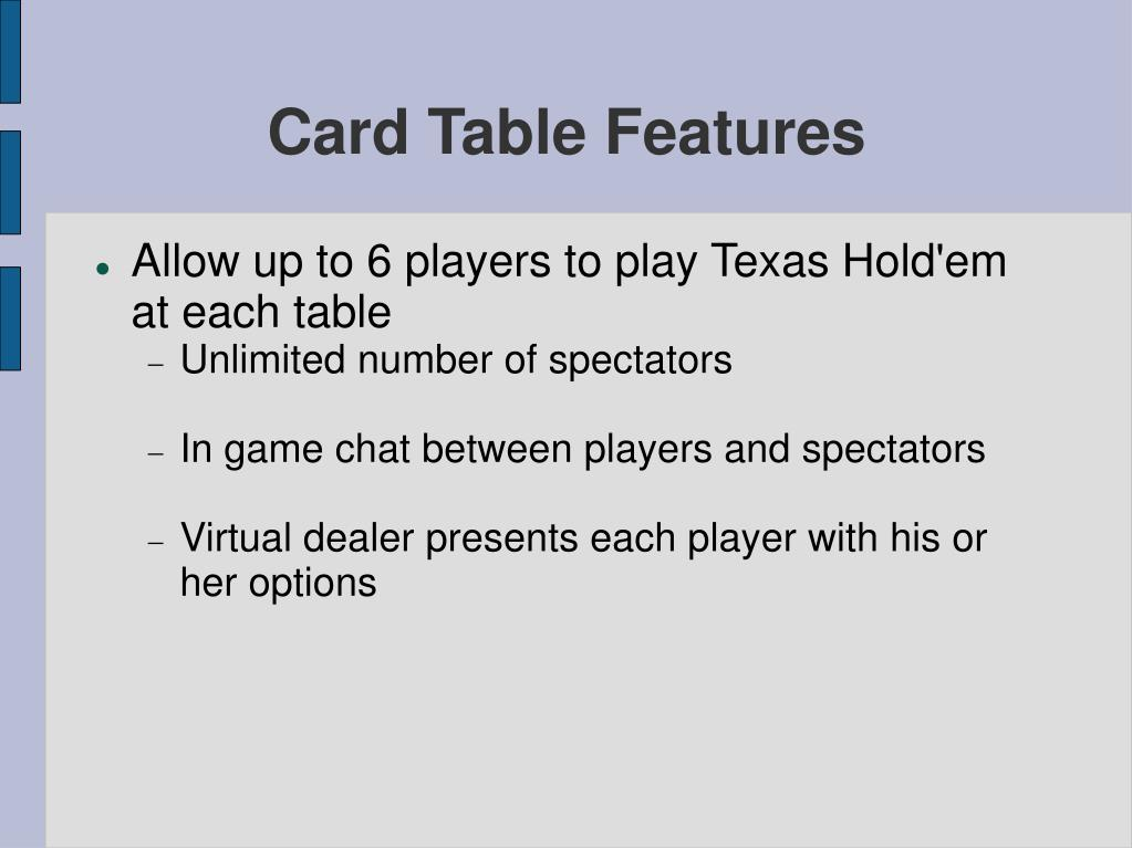 Card Table Features