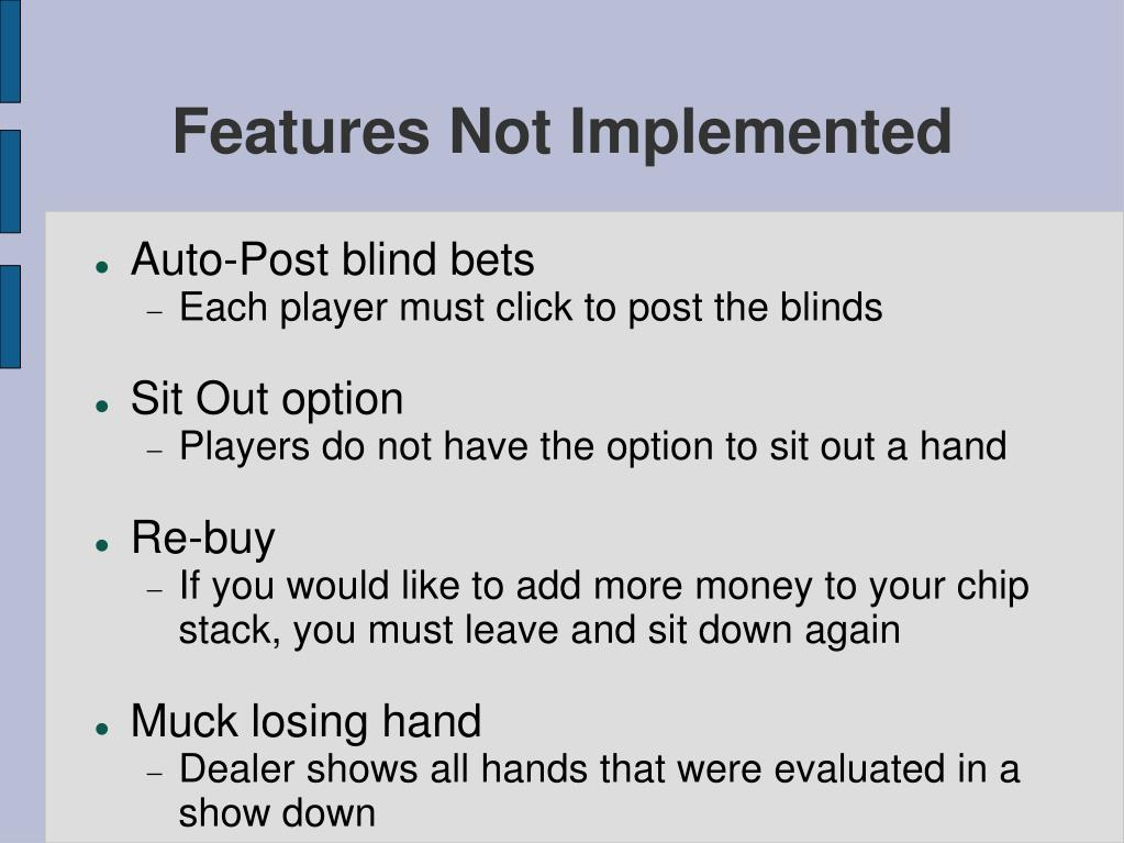 Features Not Implemented