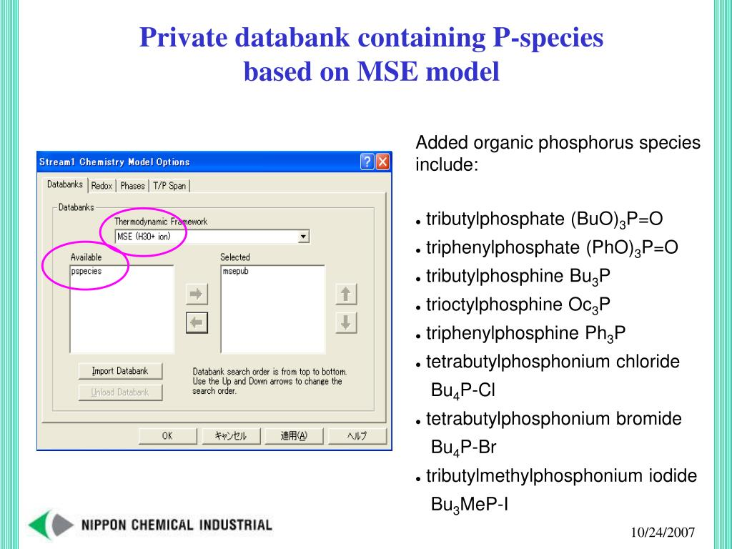 Private databank containing P-species