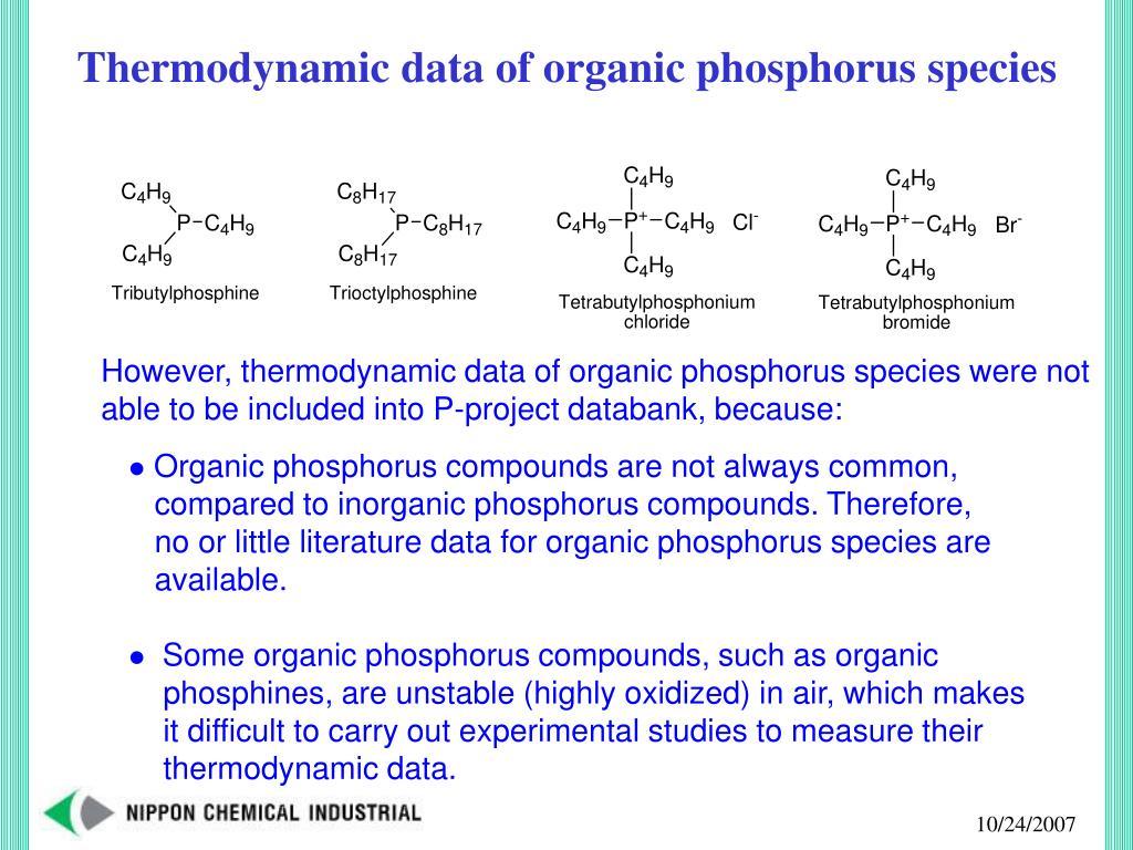 Thermodynamic data of organic phosphorus species