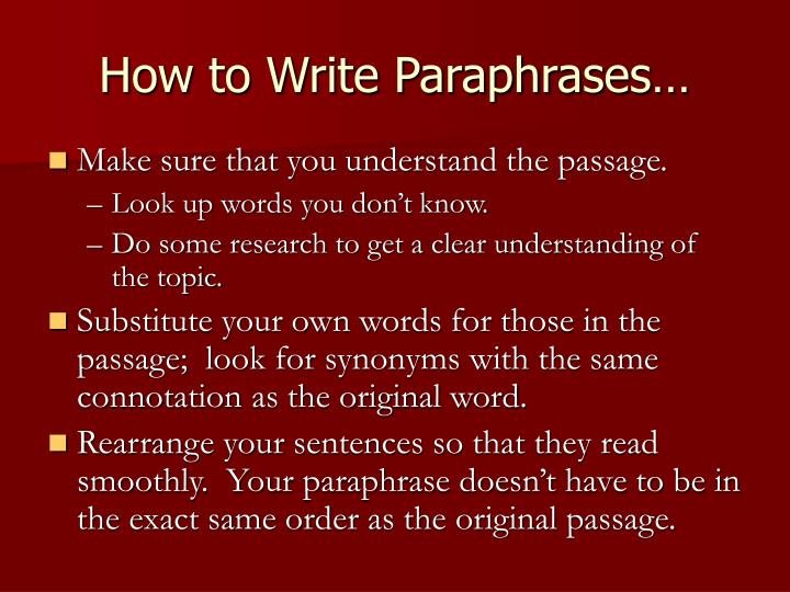 How to Write Paraphrases…