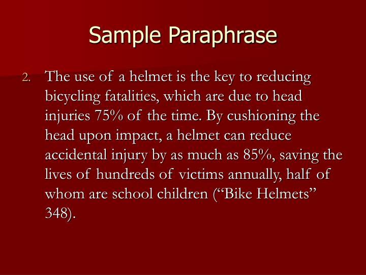 Sample Paraphrase