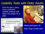 usability tests with older adults