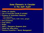 some elements to consider in the self audit