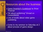 resources about the business
