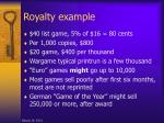 royalty example