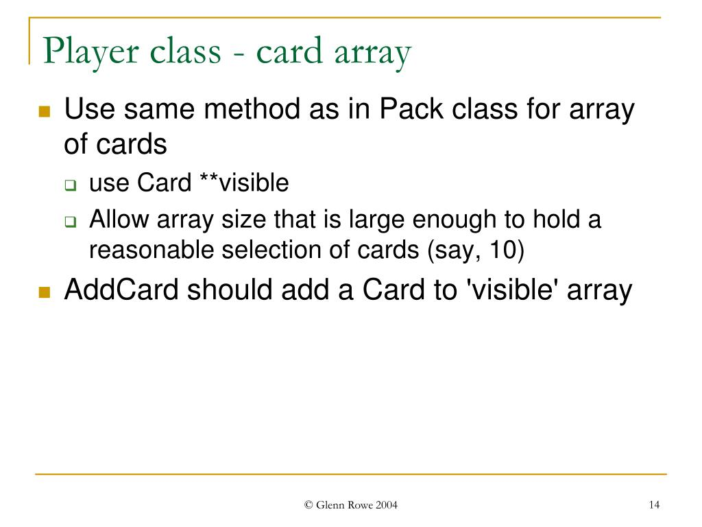 Player class - card array