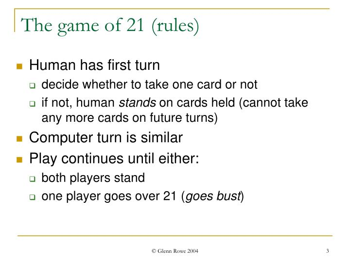 The game of 21 rules