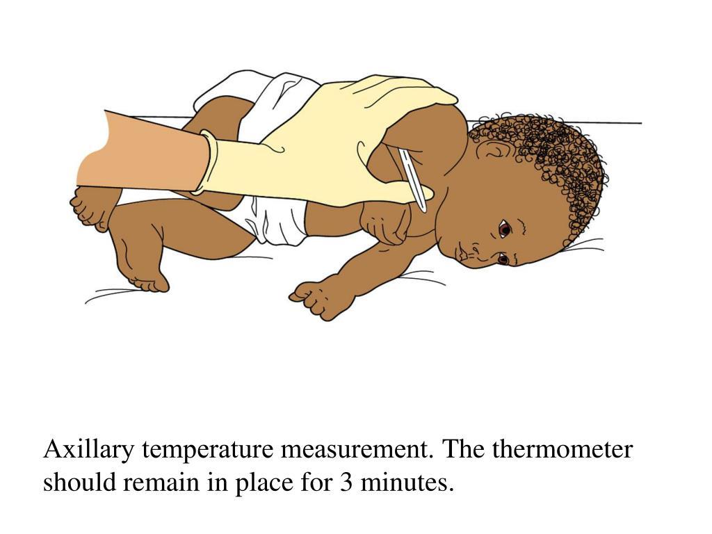 Axillary temperature measurement.