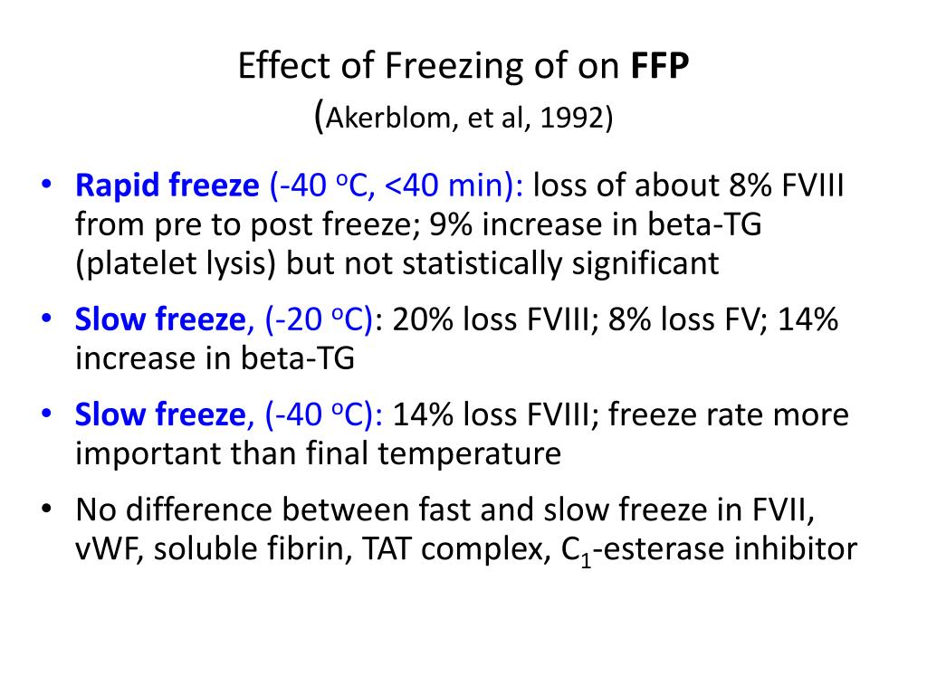 Effect of Freezing of on