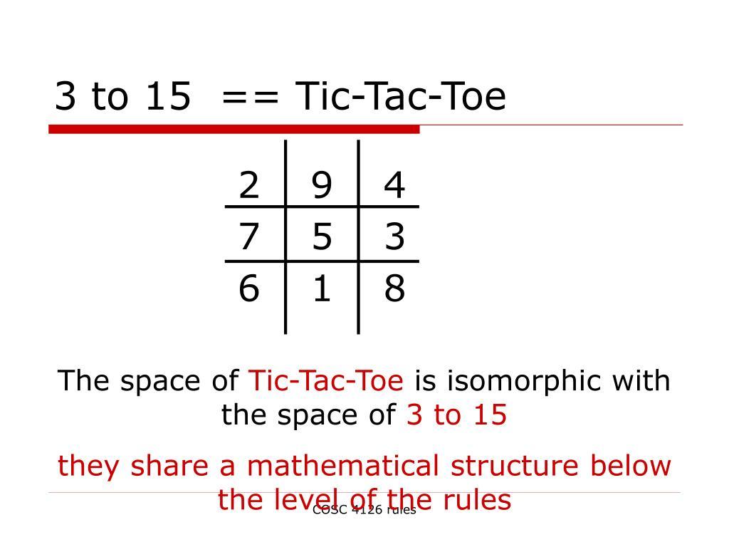 3 to 15  == Tic-Tac-Toe