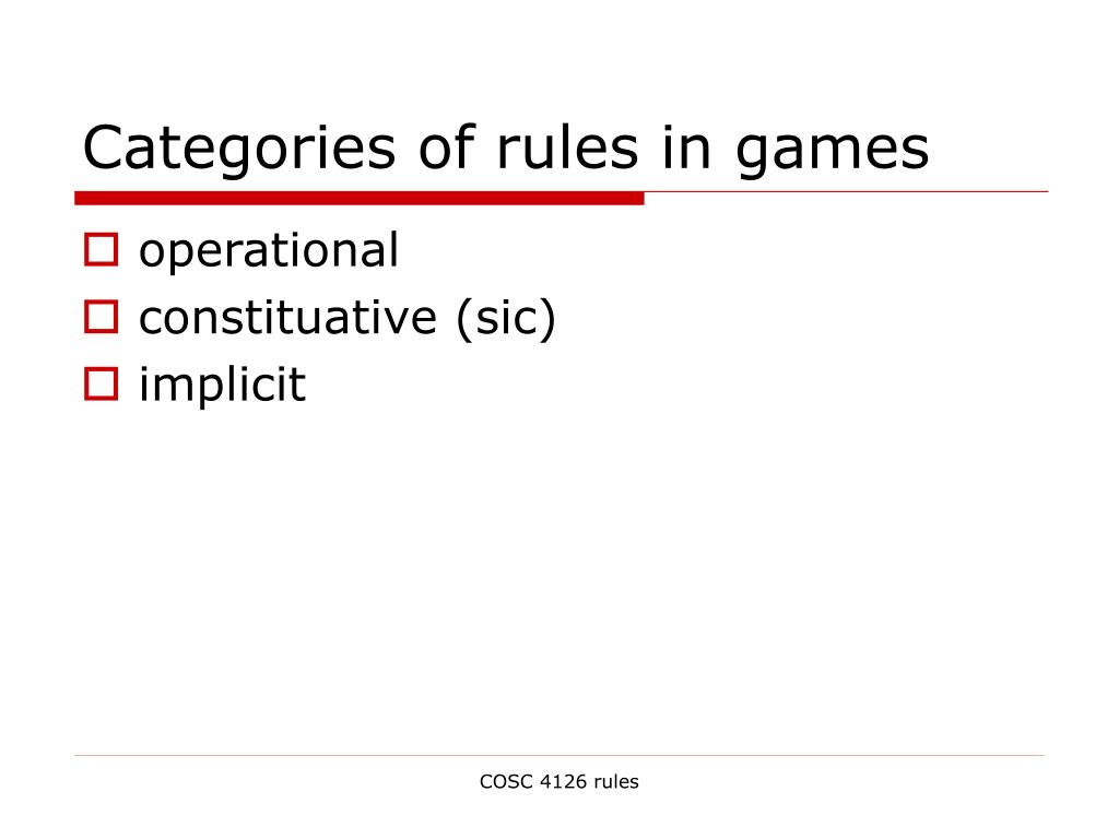 Categories of rules in games