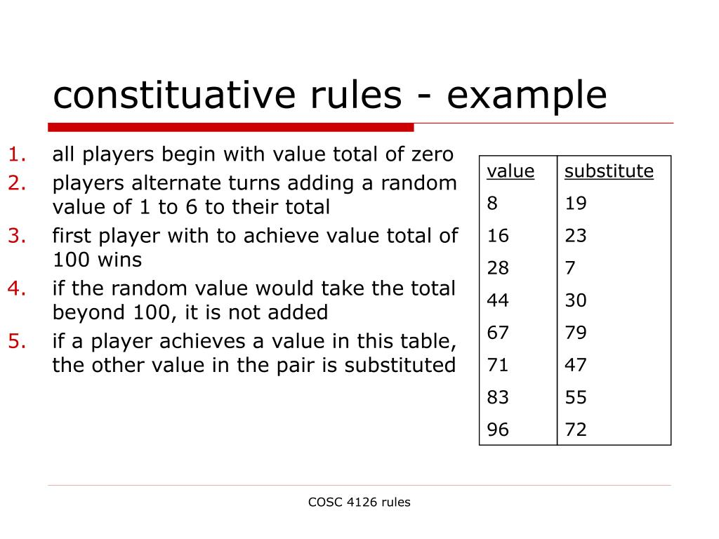 constituative rules - example