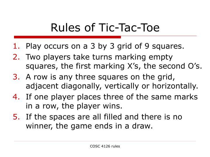 Rules of tic tac toe