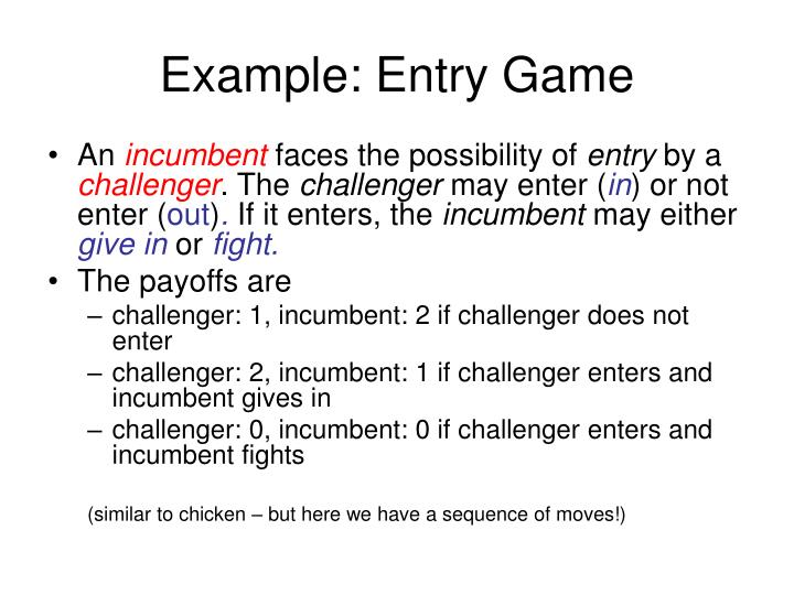 Example entry game