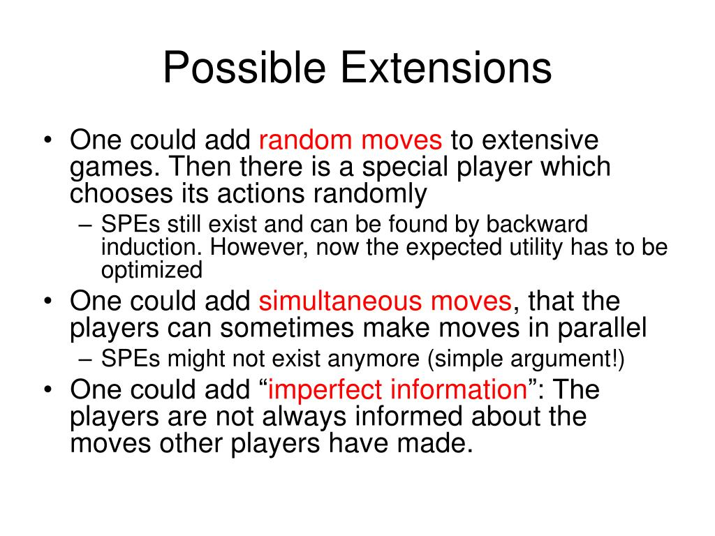 Possible Extensions
