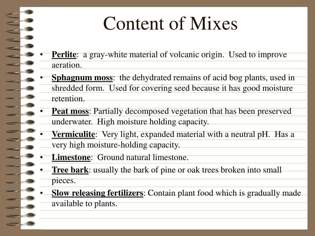 Content of Mixes