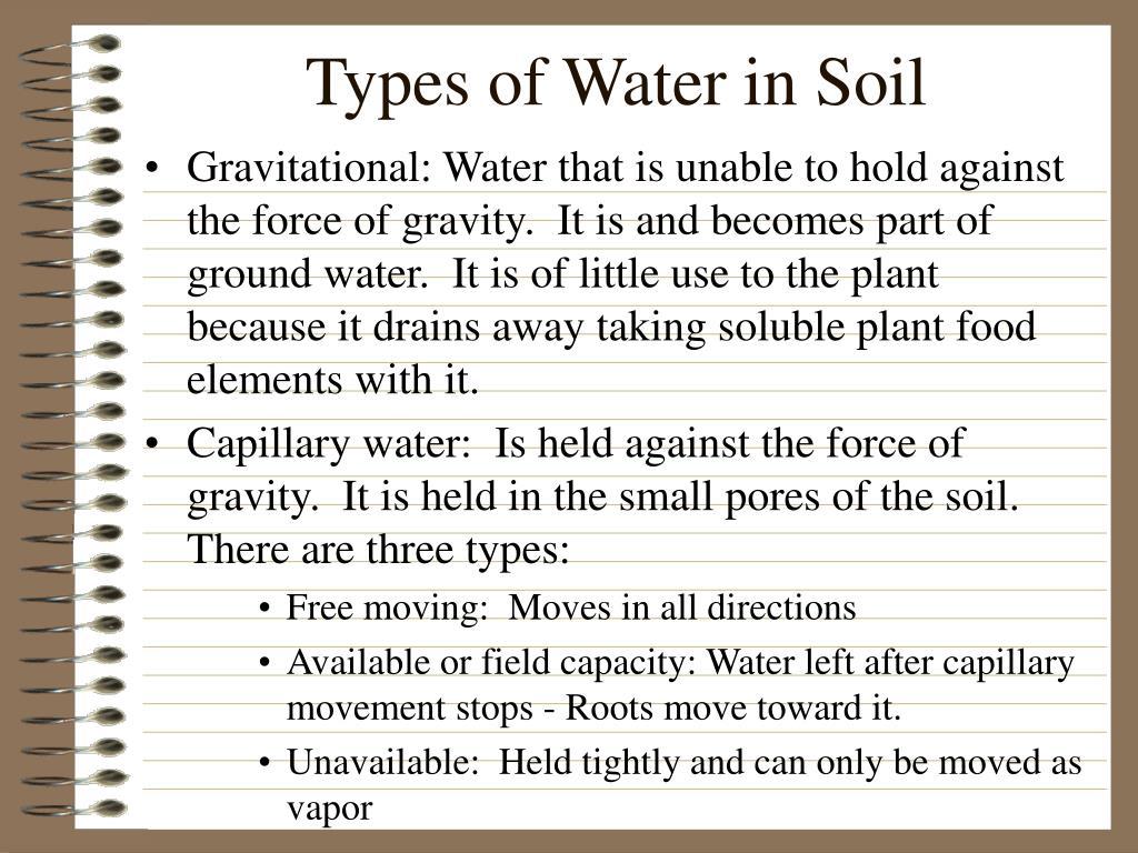 Types of Water in Soil