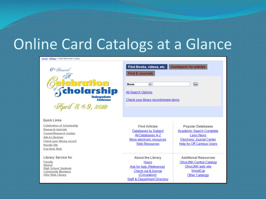 Online Card Catalogs at a Glance