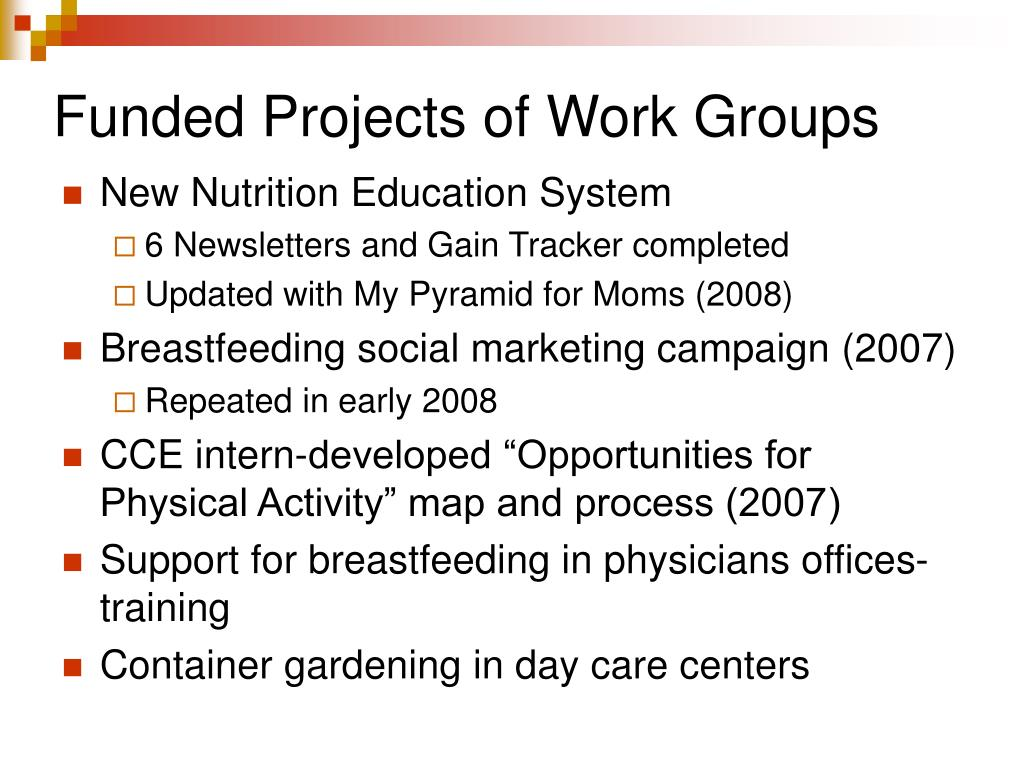 Funded Projects of Work Groups