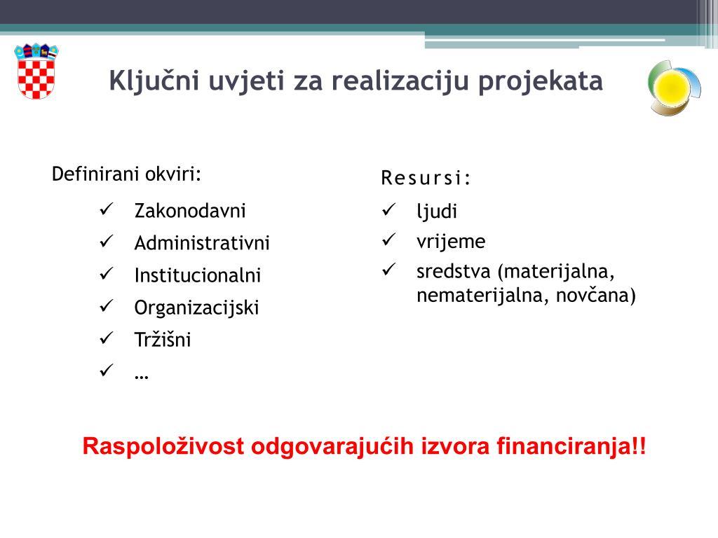 Ključni uvjeti za realizaciju projekata