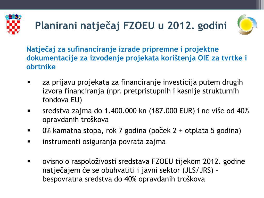 Planirani natječaj FZOEU u 2012. godini