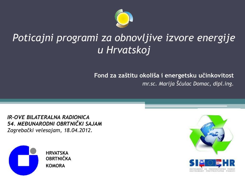 Poticajni programi za obnovljive izvore energije u Hrvatskoj