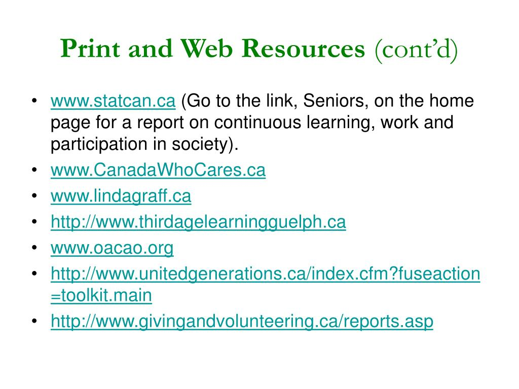 Print and Web Resources