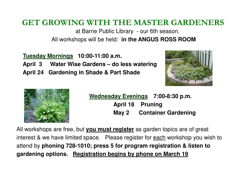 GET GROWING WITH THE MASTER GARDENERS