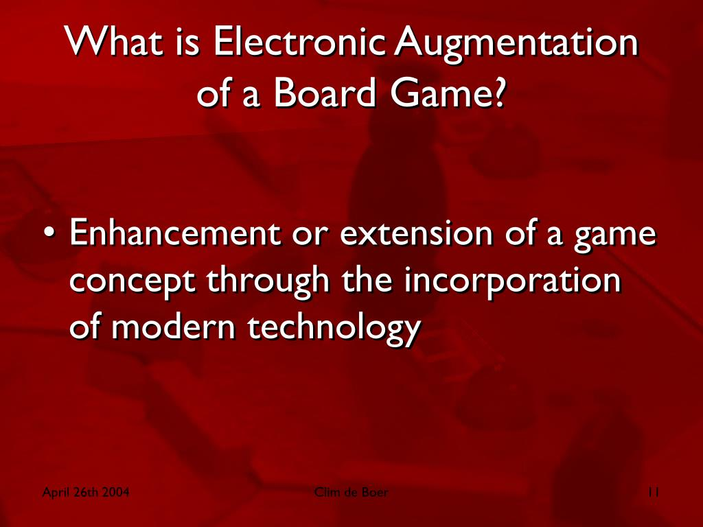 What is Electronic Augmentation of a Board Game?