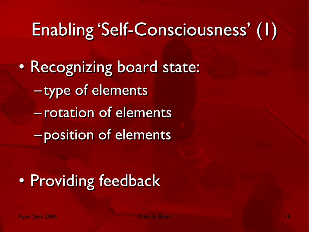 Enabling 'Self-Consciousness' (1)
