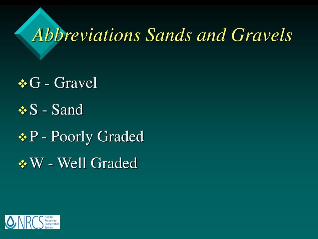 Abbreviations Sands and Gravels