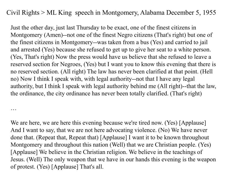 Civil Rights > ML King  speech in Montgomery, Alabama December 5, 1955