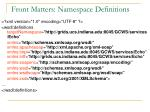front matters namespace definitions