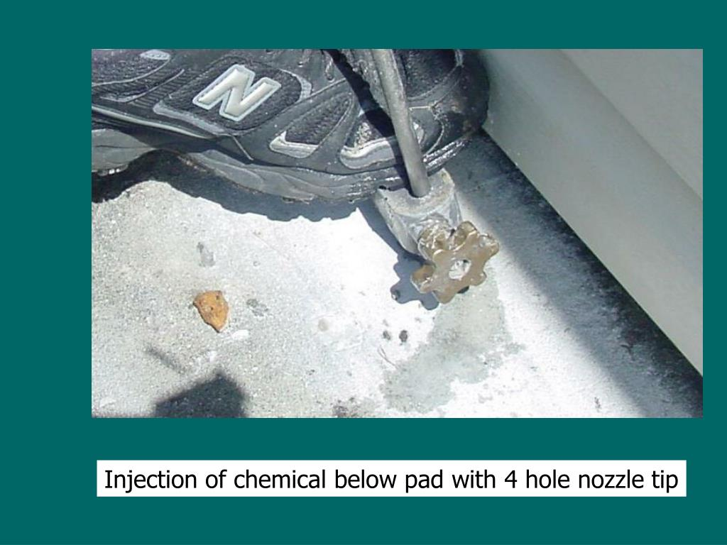 Injection of chemical below pad with 4 hole nozzle tip
