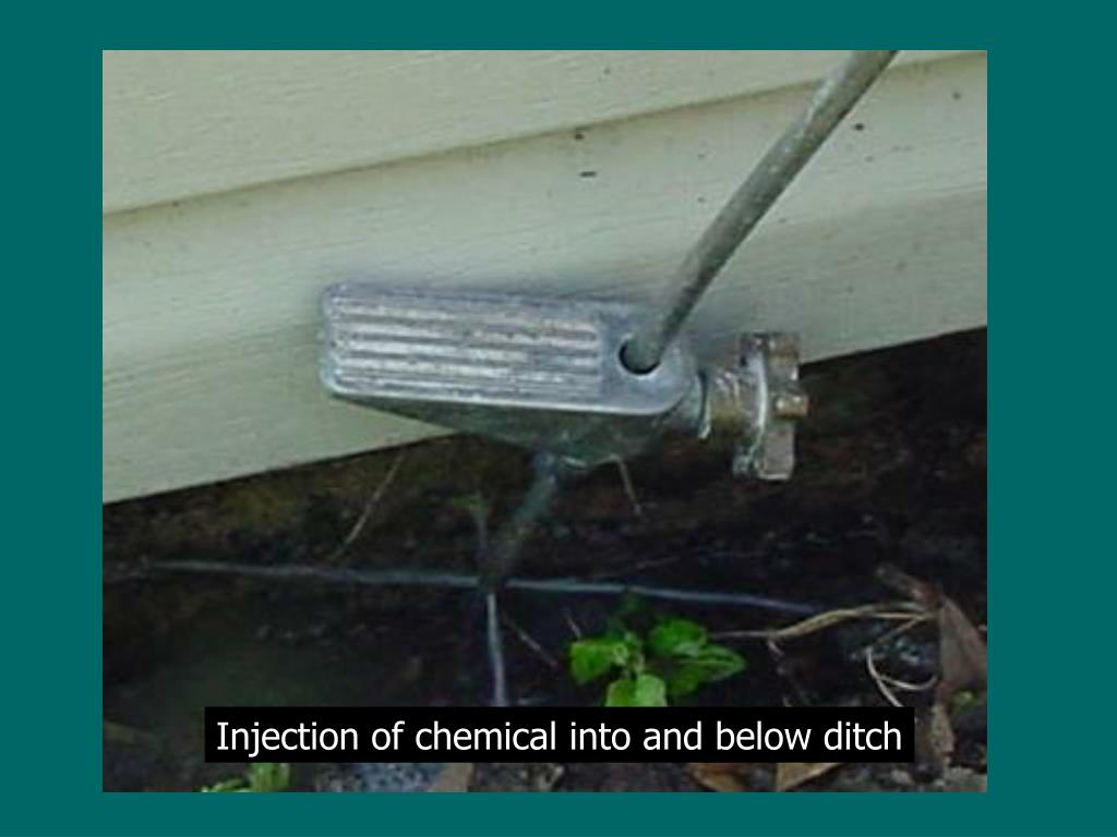 Injection of chemical into and below ditch