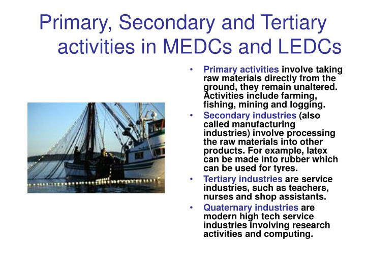 Primary secondary and tertiary activities in medcs and ledcs