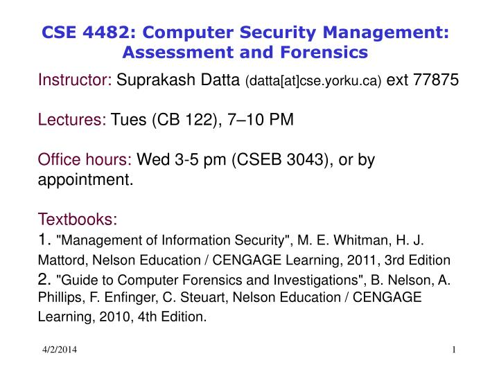 cse 4482 computer security management assessment and forensics n.