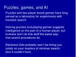 puzzles games and ai
