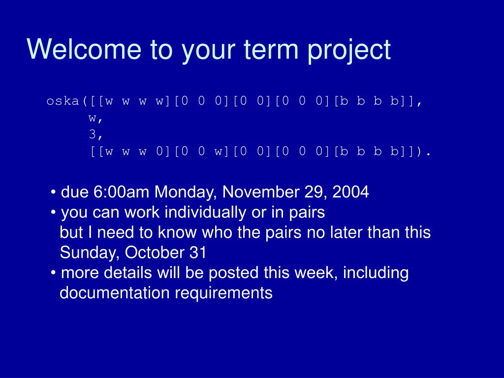 Welcome to your term project