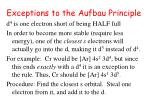 exceptions to the aufbau principle50