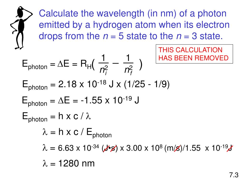 Calculate the wavelength (in nm) of a photon emitted by a hydrogen atom when its electron drops from the