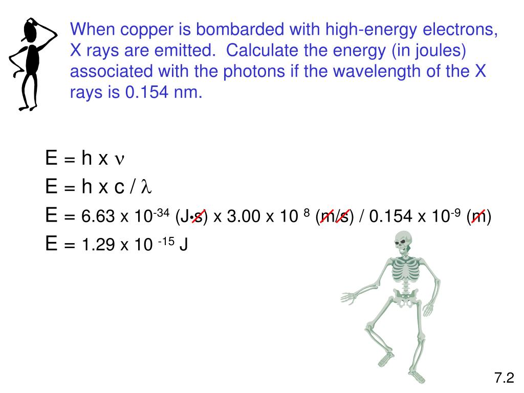When copper is bombarded with high-energy electrons, X rays are emitted.  Calculate the energy (in joules) associated with the photons if the wavelength of the X rays is 0.154 nm.