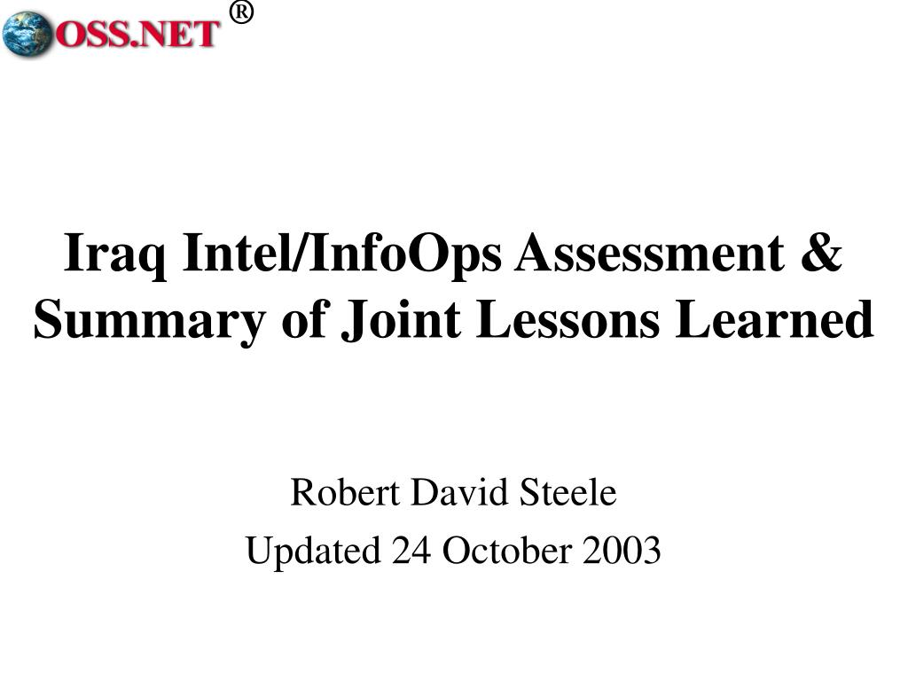 iraq intel infoops assessment summary of joint lessons learned