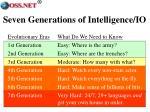 seven generations of intelligence io