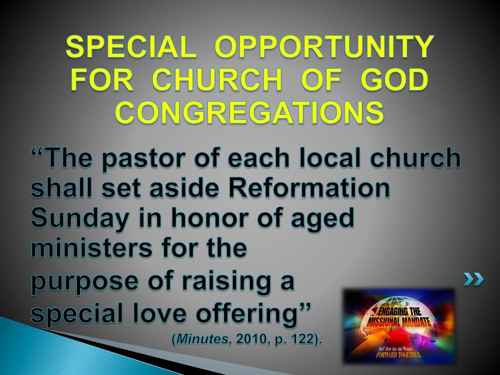 SPECIAL  OPPORTUNITY FOR  CHURCH  OF  GOD CONGREGATIONS