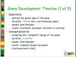game development timeline 1 of 5