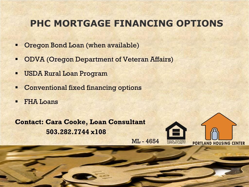 PHC MORTGAGE FINANCING OPTIONS