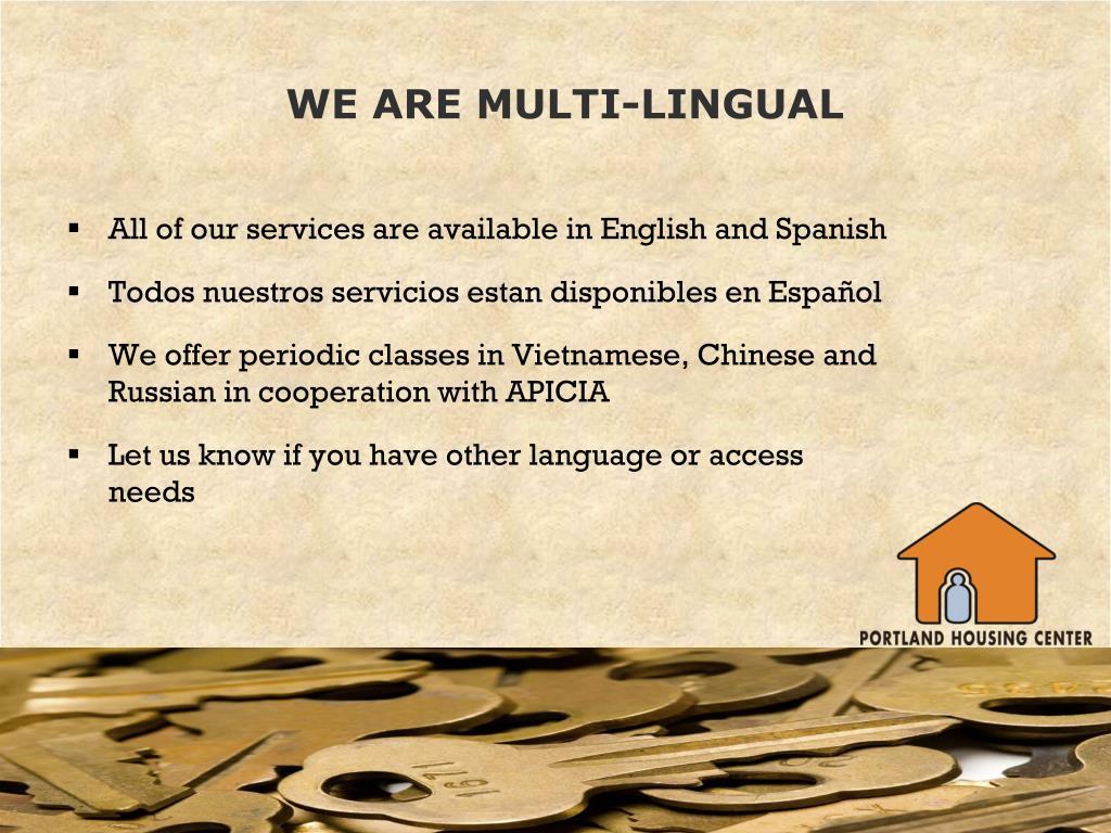 WE ARE MULTI-LINGUAL